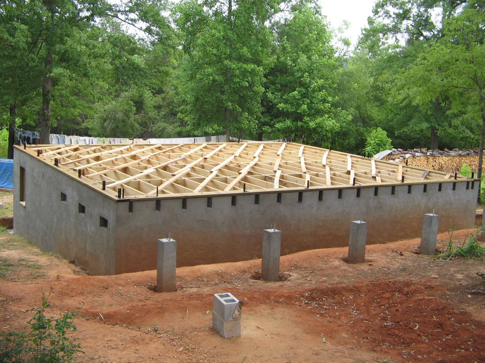 South carolina cordwood cabin for Home foundation