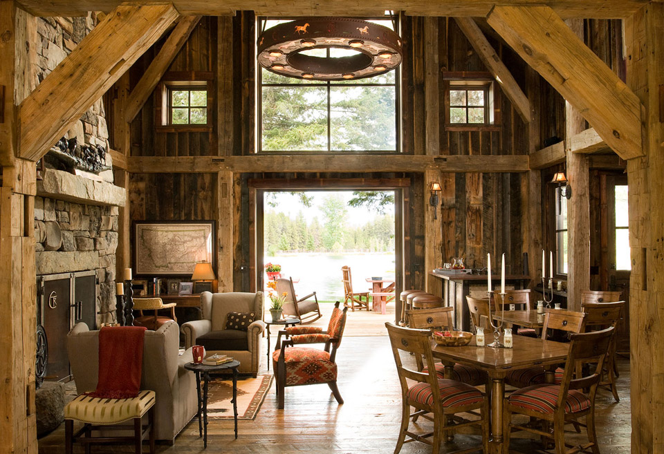 Montana mountain barn retreat Barn home interiors